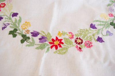 ドイツ 東欧 刺繍 テーブルクロス ハンドメイド 布
