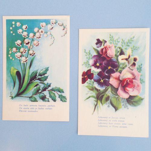 フィンランド,ヴィンテージカード,ボタニカルアート,植物画,北欧雑貨,紙もの,かわいい,レトロ